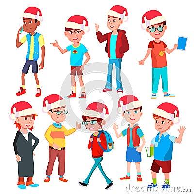 Christmas Children Set Vector. Santa Hat. Boys And Girls. Happy New Year. Isolated Cartoon Illustration Vector Illustration