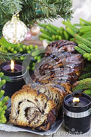 Free Christmas Chocolate Krantz Cake Stock Photography - 35407472