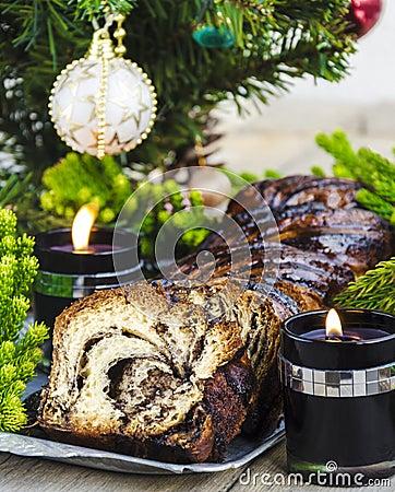Free Christmas Chocolate Krantz Cake Stock Photos - 35407743