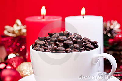 Christmas coffee beans in a cup