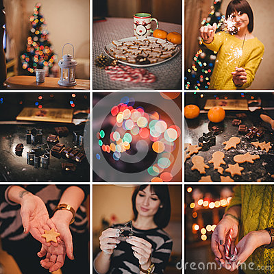 Free Christmas Collage About Baking Christmas Cookies At Home Royalty Free Stock Photo - 46122835
