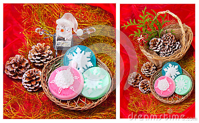 Christmas   collage with snowflakes - soap