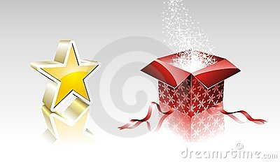 Christmas collection with shiny star and gift box.