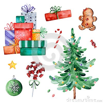 Free Christmas Collection With Christmas Tree,candy,gifts And Other Decorations. Stock Images - 129573724
