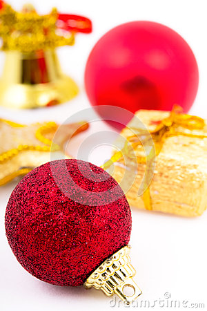 Christmas colored balls  on white background