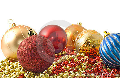 Christmas - colorful decoration baubles and beads