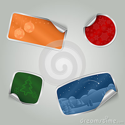 Christmas colorful stickers with texture