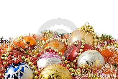 Christmas. colorful tinsel and balls