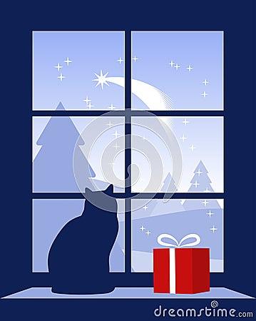 Christmas comet outside window
