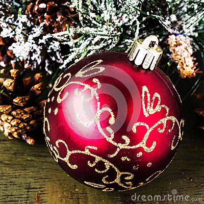 Christmas composition with  decorations  on dark wooden  backgro