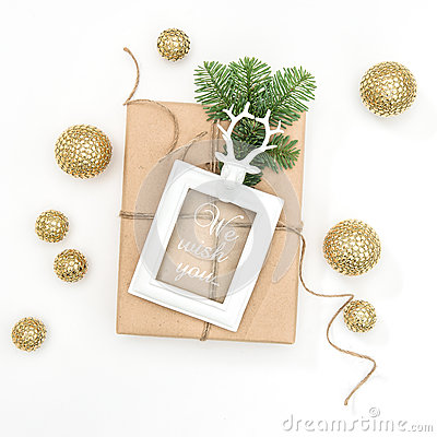Free Christmas Composition Gift Picture Frame Golden Decoration Royalty Free Stock Photos - 81312258