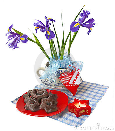 Christmas composition with irises and baking