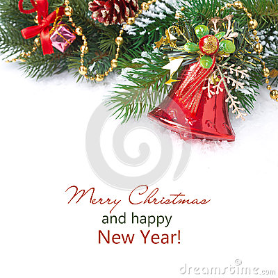 Free Christmas Composition With Fir Branches, Decorations, Red Bell Stock Images - 33470694