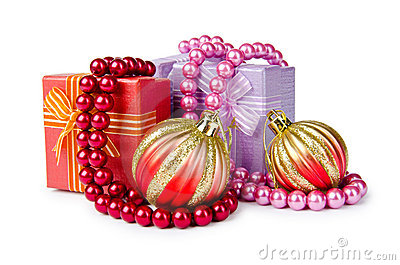 Christmas concept - baubles on white