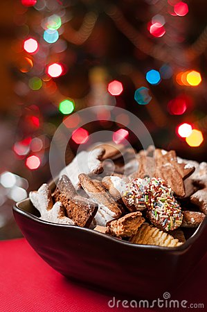 Christmas cookies in brown bowl