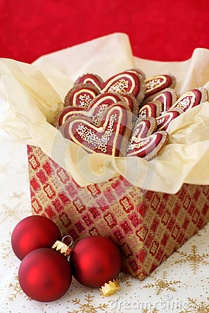 Christmas cookies in a giftbox