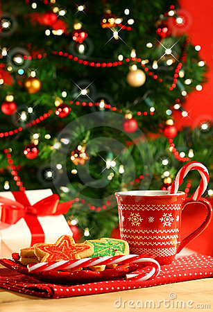 Free Christmas Cookies Near The Tree Royalty Free Stock Images - 3754429