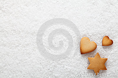 Christmas cookies on snow
