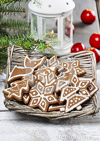 Christmas cookies in wicker basket
