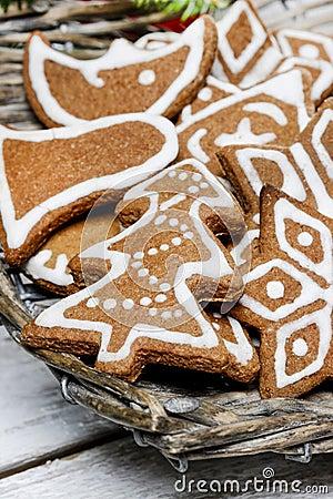 Christmas cookies in wicker basket