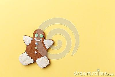 Christmas cookies on yellow background Stock Photo