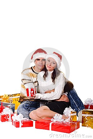 Christmas couple with gift boxes