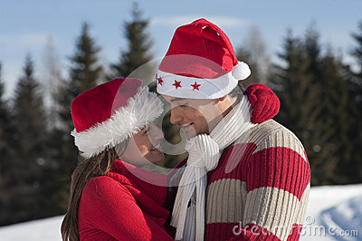 Christmas couple in love