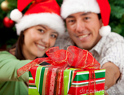 Christmas couple with a present