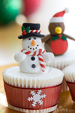 Free Christmas Cupcakes Royalty Free Stock Photography - 11766797