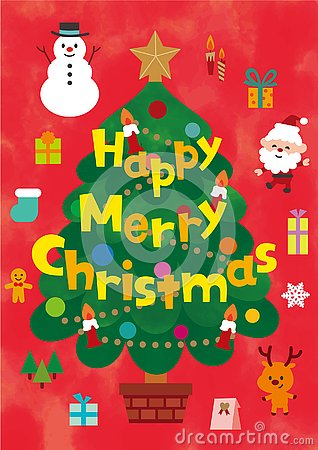 Christmas cute characters and design elements set. Vector Illustration