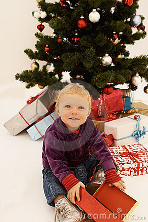 Christmas - Cute child opening Gifts