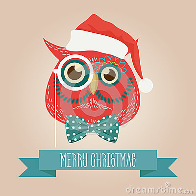 Free Christmas Cute Forest Owl Bird Head Logo. Vector Modern Fashionable Hipster Owl Bird Animal In Clothes. Royalty Free Stock Image - 81139826