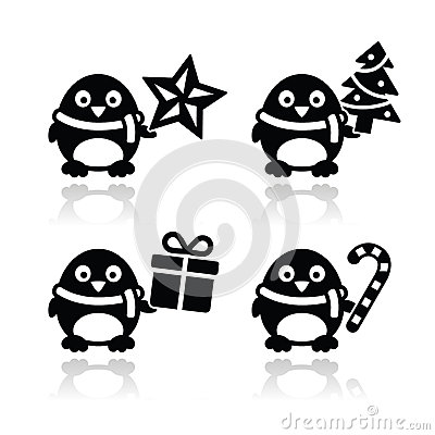 Christmas cute penguin  icons set