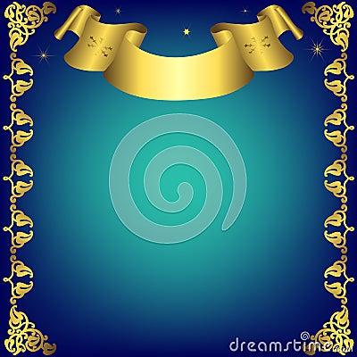 Christmas dark blue  frame with golden ribbon