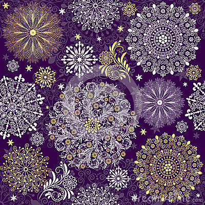 Christmas dark violet seamless pattern