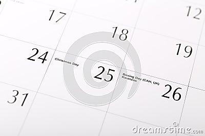 Christmas date on calendar