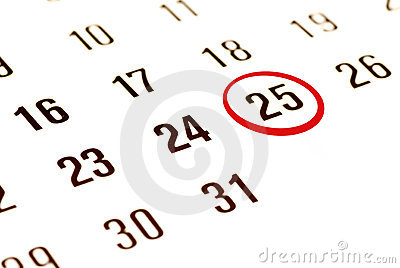 Christmas Day On Calendar Royalty Free Stock Image - Image: 6500096