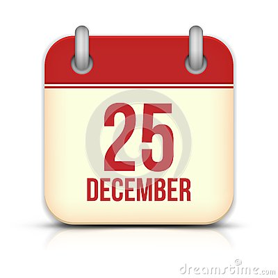 Christmas Day Calendar Icon. 25 December. Vector