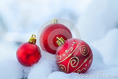 Christmas decor ball on snow