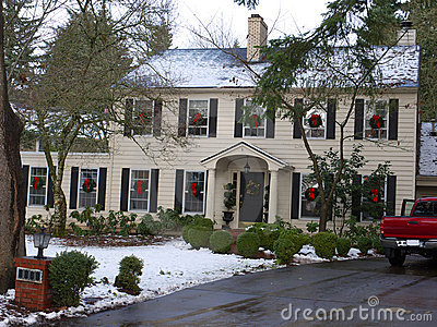 Christmas decorated luxury home