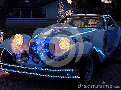 Christmas decorated dream car