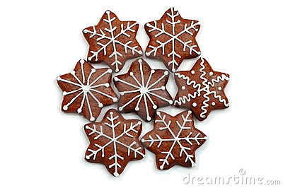 Christmas decorated sweets (ginger bread) isolated