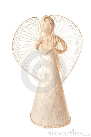 Free Christmas Decoration Angel From Straw Royalty Free Stock Photo - 24107365