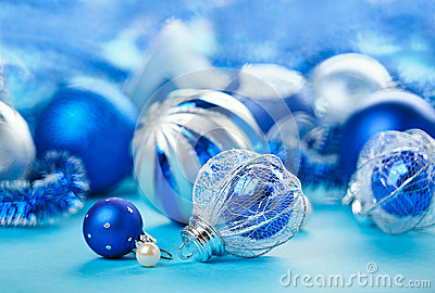 Christmas decoration balls on blue