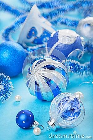 Christmas decoration balls on blue