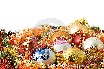 Christmas decoration balls and colorful tinsel