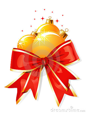 Free Christmas Decoration / Bow And Balls / Vector Royalty Free Stock Photography - 6171137