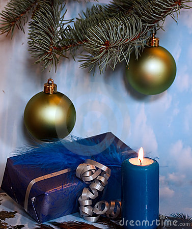 Christmas decoration with candle light,pine leaves