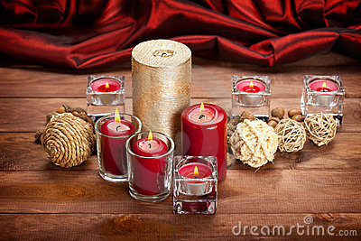 Christmas decoration - candles and balls