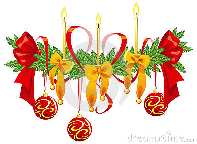 Christmas decoration with candles and bows